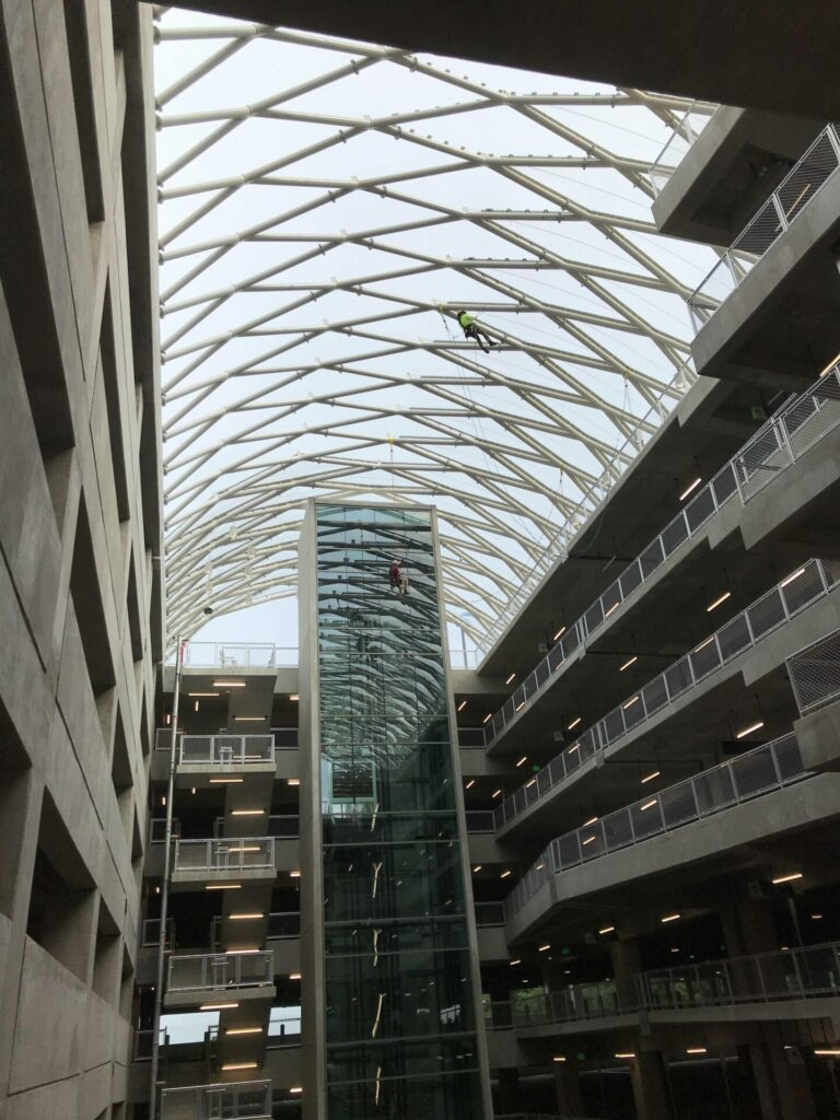 touch up paint on canopy in atrium